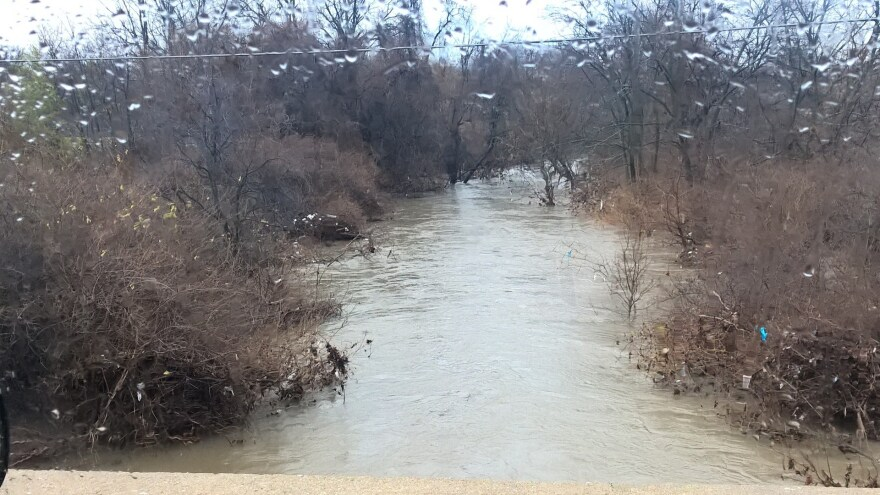 This photo of Coldwater Creek flooding was taken from the Dunn Road bridge on Monday.