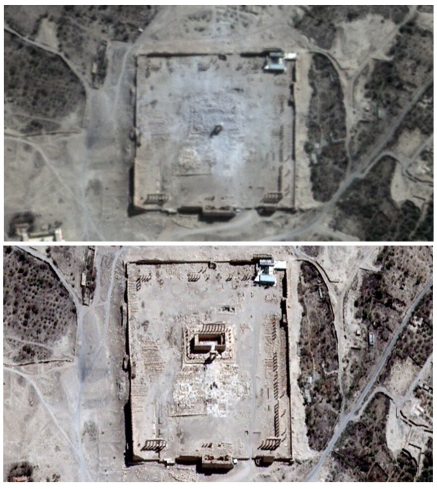 After reports of an explosion at the 2,000-year-old city of Palmyra, the U.N. confirmed that the Temple of Bel had been destroyed. Satellite images show the famous temple a few days before the explosion (below), and a day after (above).
