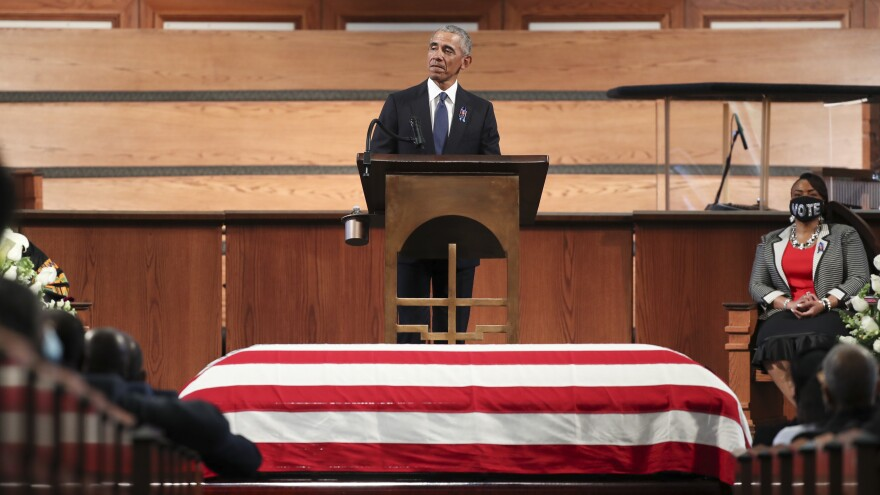 Former President Barack Obama gives the eulogy at the funeral service for Rep. John Lewis at Ebenezer Baptist Church in Atlanta. Lewis, a civil rights icon and fierce advocate of voting rights for African Americans, died on July 17 at the age of 80.