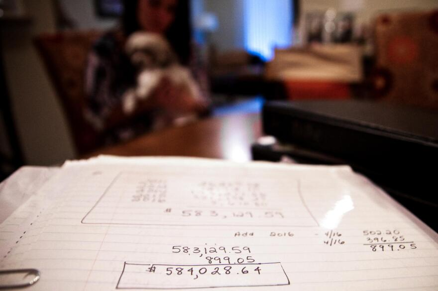 One mother keeps track of her son's bills for his five years of on-and-off drug treatment. The total charges now exceed $600,000.
