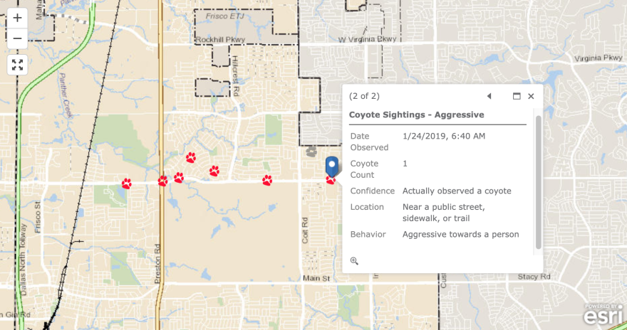 A screenshot of Frisco's coyote sightings report map.