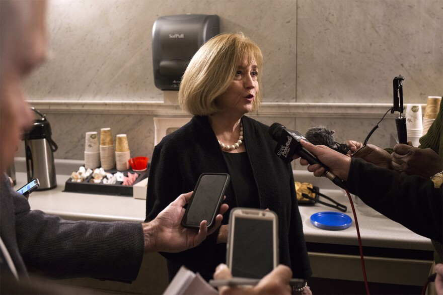 St. Louis Mayor Lyda Krewson answers questions from reporters about the Board of Freeholders process.