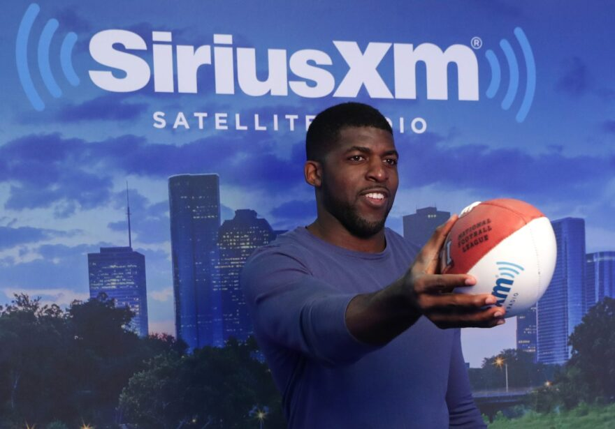 NFL player Emmanuel Acho visits the SiriusXM set at Super Bowl 51 Radio Row at the George R. Brown Convention Center in Houston, Texas.