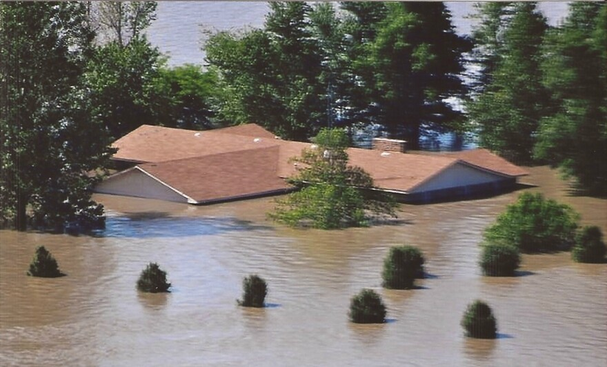 Aretha Robinson's home during the flood in Pinhook