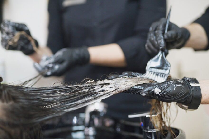 Hair dyes and straighteners contain chemicals that are being studied for their health effects.