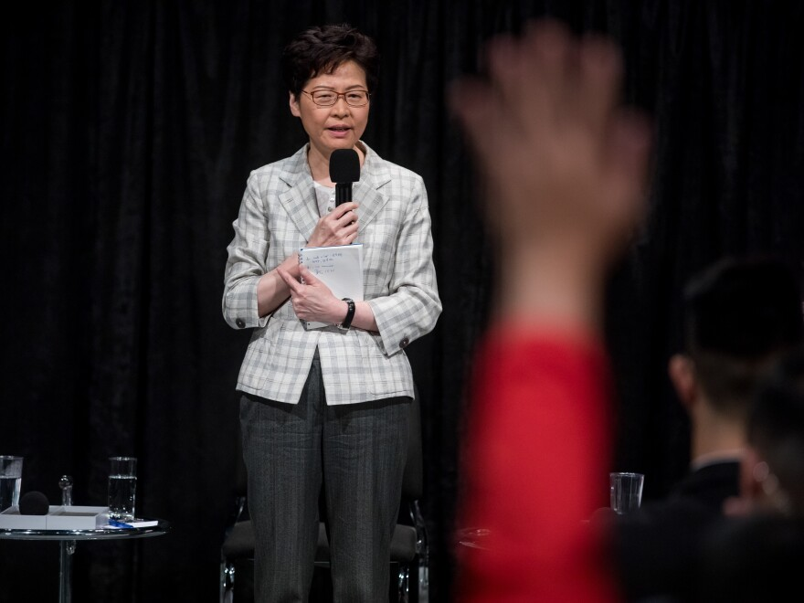 Carrie Lam, Hong Kong's chief executive, held an hours-long town hall with an antagonistic audience on Thursday.