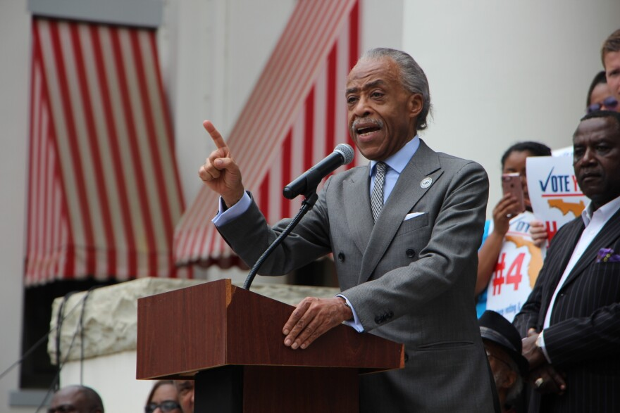 Rev. Al Sharpton leads a rally in support of restoring felons' voting rights outside of Florida's Capitol on April 26, 2018.