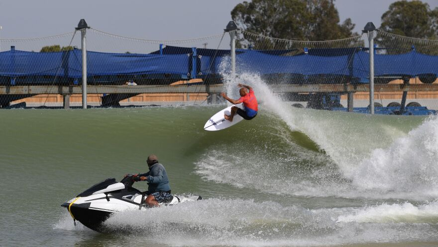 Kelly Slater during team practice before the World Surf League's Founders' Cup of Surfing at his Surf Ranch in Lemoore, Calif.