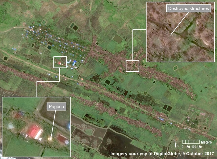 An October 2017 satellite image from Inn Din village, in southern Maungdaw Township, Myanmar, shows the eastern and southern Rohingya settlements burned, while the non-Rohingya western settlement remains intact. A Buddhist pagoda is shown within the western settlement.