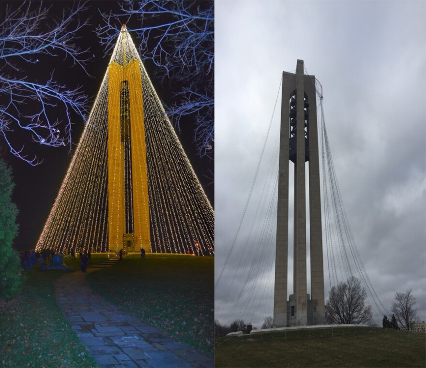 The Tree of Light before and after this week's wind storm.