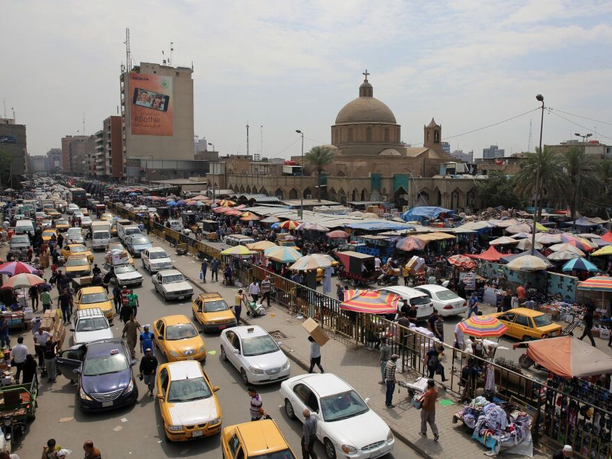The Shorja market in central Baghdad, bustling in early April, was targeted in attacks in 2007.