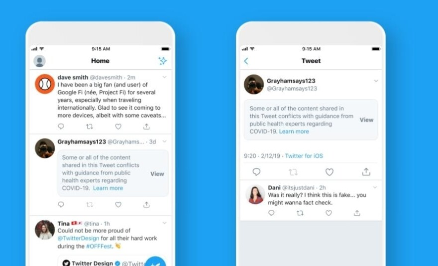 Twitter said on Monday that tweets related to the coronavirus that are deemed potentially harmful will be covered with a warning label before users can view them.