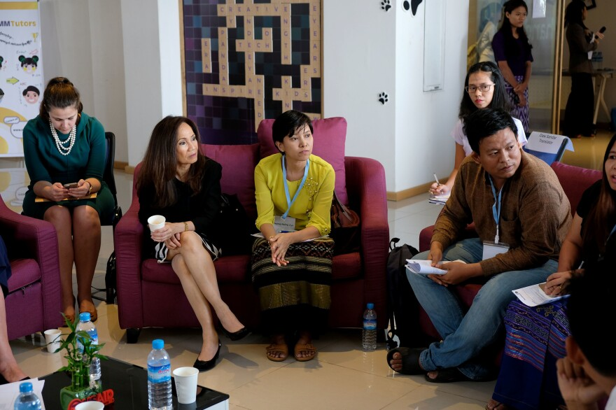 Myanmar activists meet with visiting U.S. officials at Phandeeyar, a Yangon-based tech hub and one of several groups that have pressed Facebook to moderate its Burmese-language content to prevent hate speech.