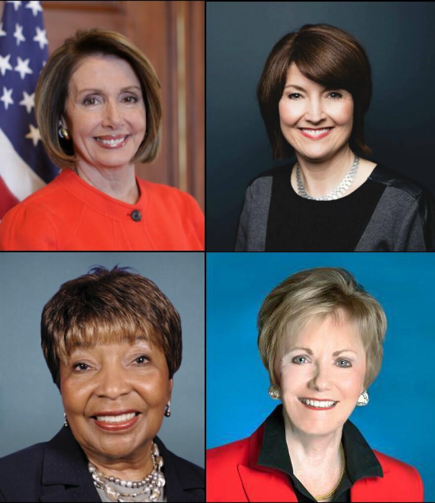 Clockwise from top left: Democratic House Minority Leader Nancy Pelosi, U.S. Rep. Cathy McMorris Rodgers (R-WA), U.S. Rep. Kay Granger (R-TX) and U.S. Rep. Eddie Bernice Johnson (D-Texas).