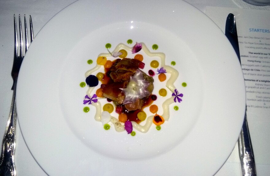 At a pop-up dinner in London, one of 20 courses served was this Mandala lamb with tangerine puree, lemon puree, beet impregnated melon, fennel and artichoke.
