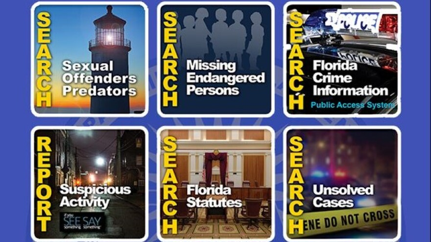 This screenshot of the new FDLE app shows some of its features.