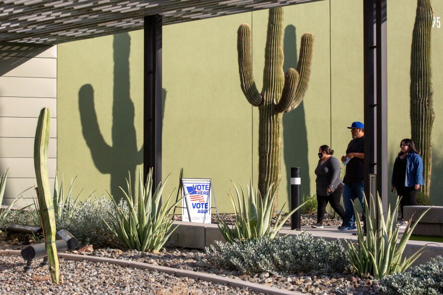 Voters at a polling location on Nov. 3, 2020 in Eloy, Ariz. Arizona lawmakers are considering a number of measures, including one that would allow the state legislature to ignore voters' wishes and award the state's electoral votes itself.