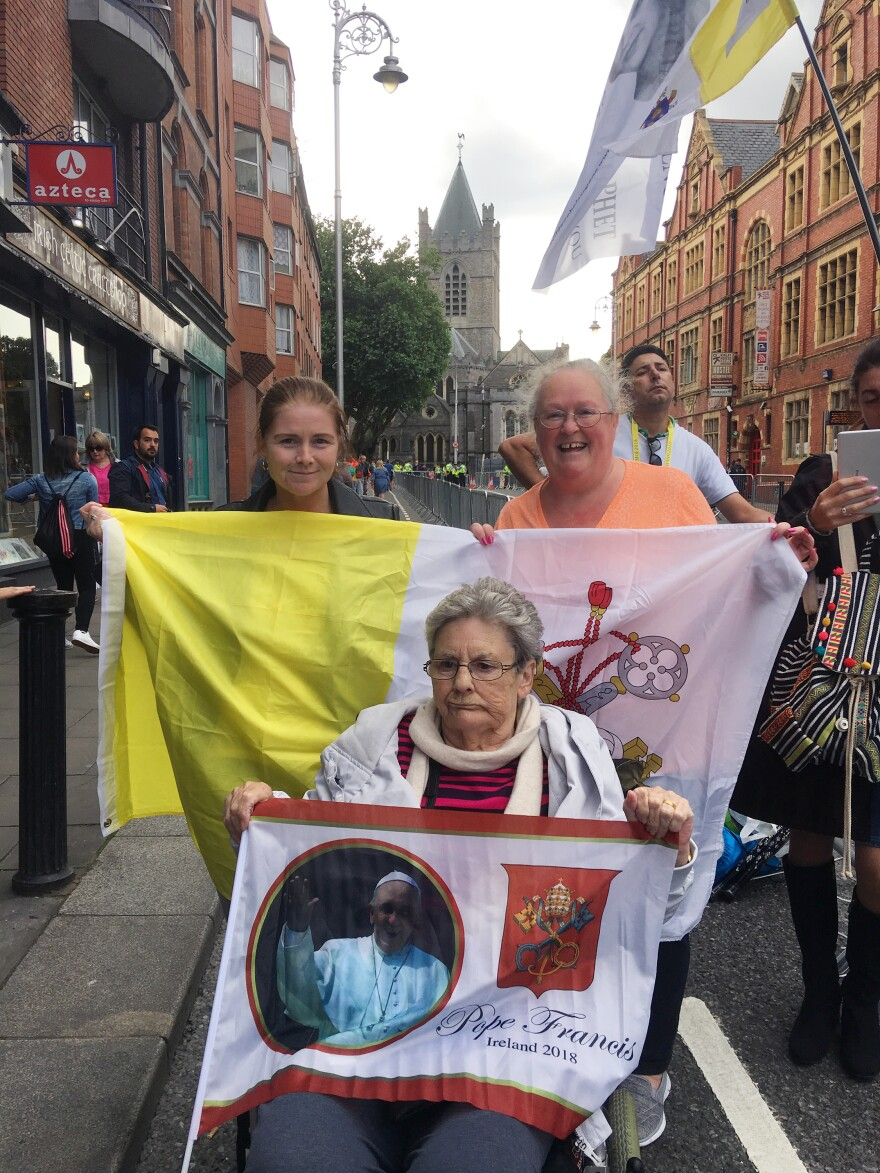 Carmel Malone (center), 78, came in her wheelchair on Saturday with her two daughters, Margaret and Catherine, to see Pope Francis during his visit to Dublin.