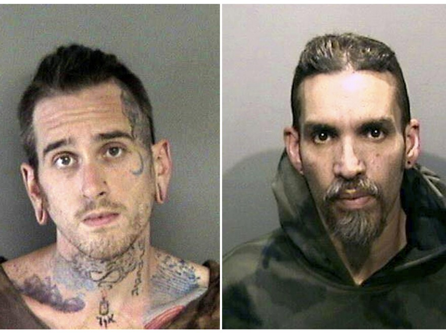 "Max Harris (left) and Derick Almena at Santa Rita Jail in Alameda County, Calif. A jury Thursday acquitted Harris and was unable to reach a verdict on Almena. Both men were charged with manslaughter following the deaths of 36 people in the ""Ghost Ship"" warehouse fire."