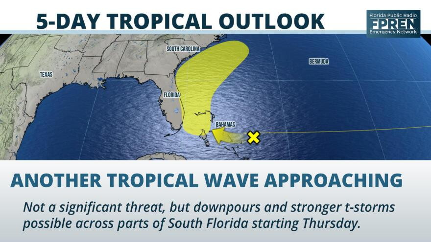 Showers and thunderstorms will become more numerous at times across the Florida peninsula by the end of the week thanks to an approaching tropical wave.