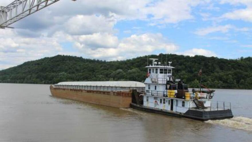 Barge on the Ohio River near Wellsville