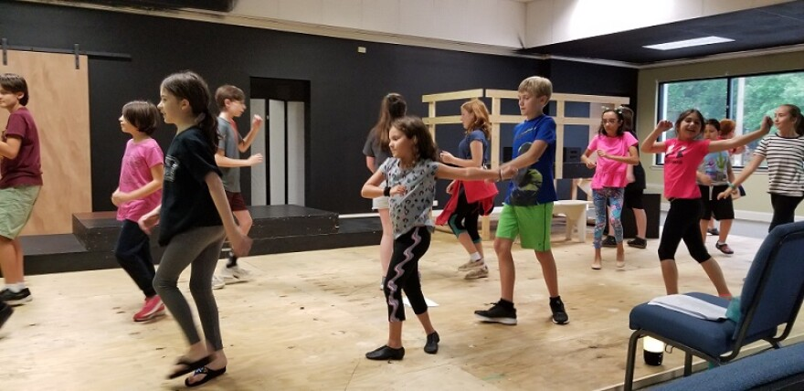 """Students at Making Light Productions rehearse dance moves for """"Golly Gee Whiz: The Musical."""""""