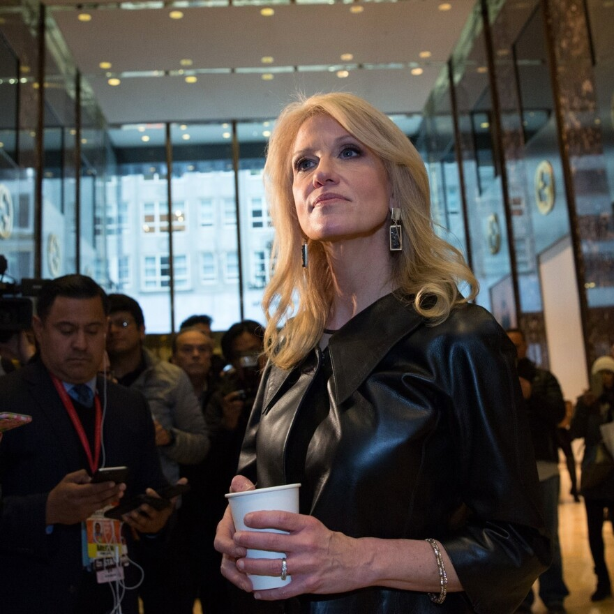 Kellyanne Conway, a senior adviser to President-elect Donald Trump, takes questions from the media at Trump Tower in New York City on Monday.