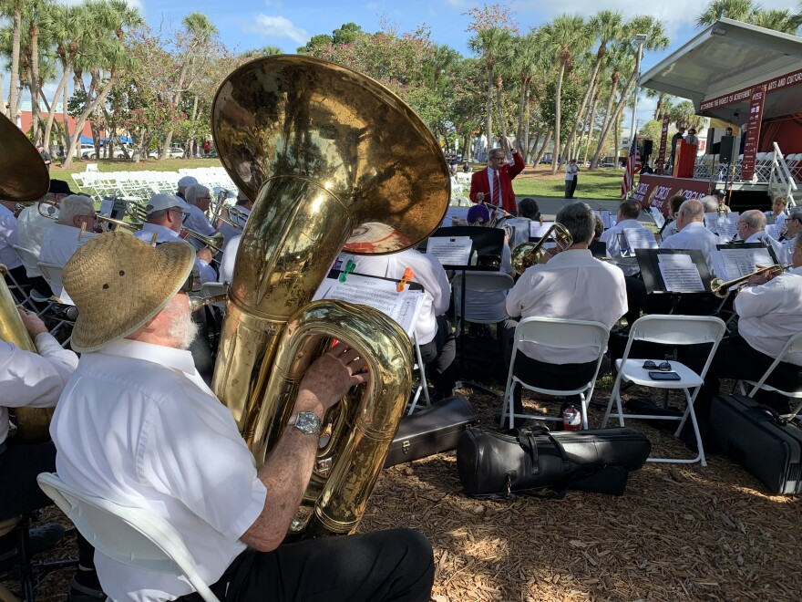 Bruce Keck, 82, plays tuba at a Windjammers concert in St. Armand's Circle in Sarasota, January 12, 2020.