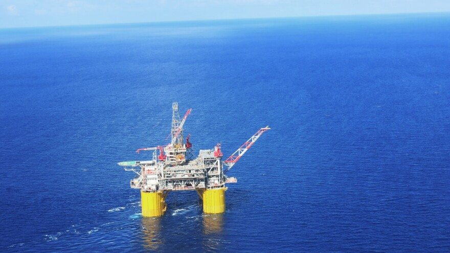 Shell's Olympus production platform and drilling rig is located about 130 miles south of New Orleans. It is 406 feet tall and weighs more than 120,000 tons.