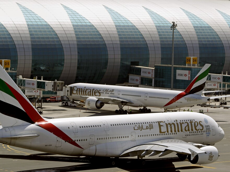 Emirates passenger planes at Dubai International Airport. The airline announced it is now exempt from the laptop ban imposed by the U.S. Department of Homeland Security in March.