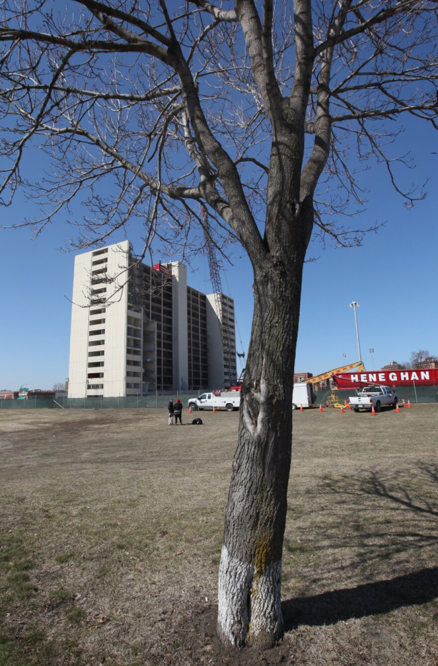 One of Chicago's last housing project high-rises awaits demolition last month.