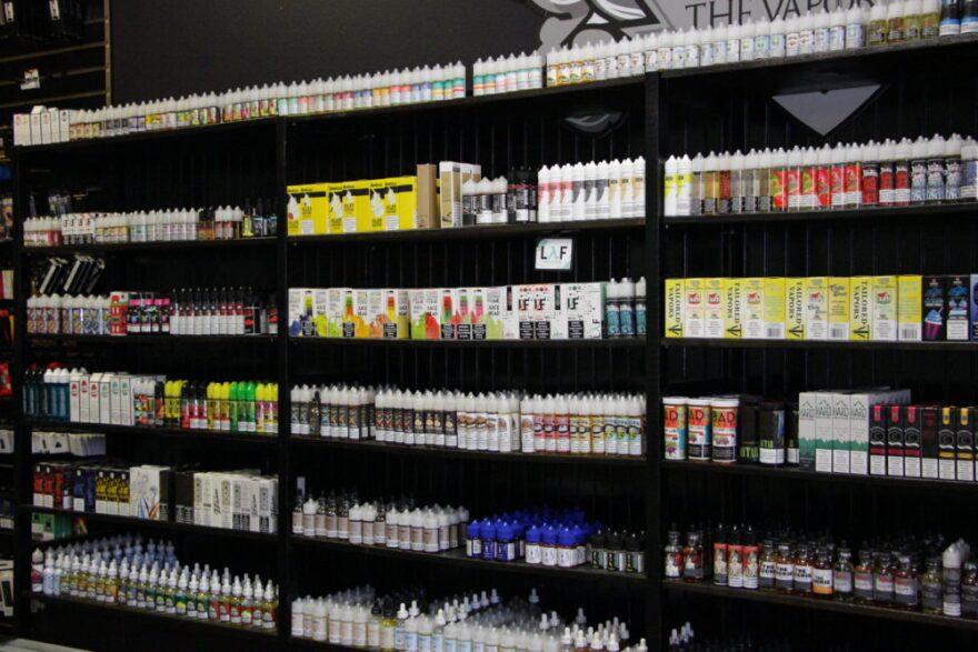 Shelves lined with vape juice a