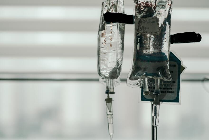 Hospital IV bag, medical equipment.