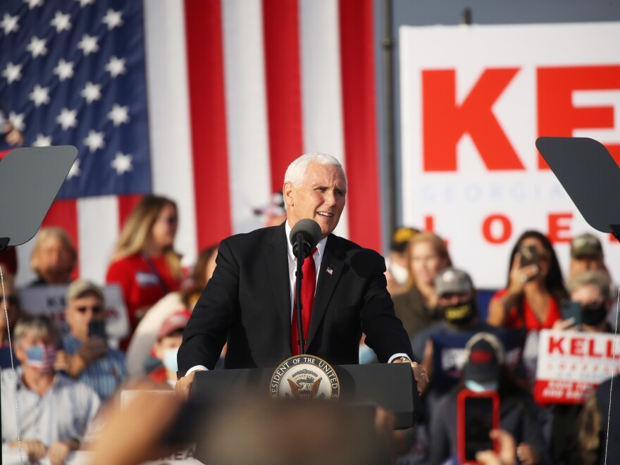 Vice President Pence attends a rally in support of Sen. David Perdue, R-Ga., and Sen. Kelly Loeffler, R-Ga., on Dec. 04, 2020.