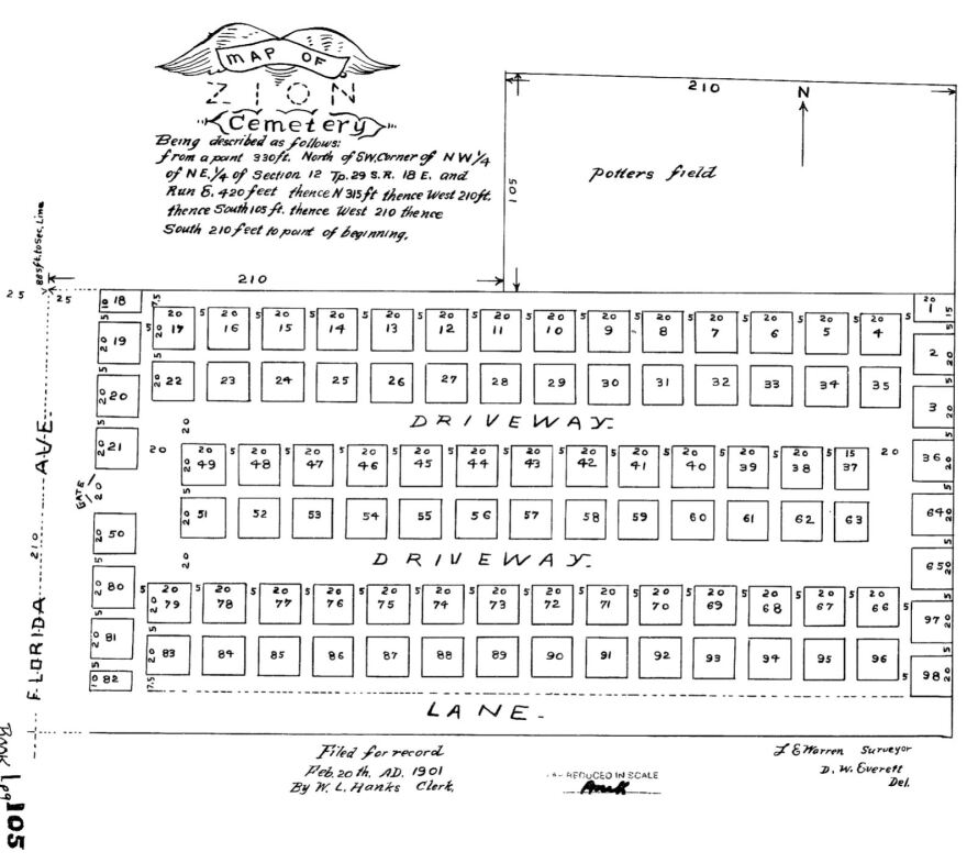 This 1901 map shows how graves were laid out in Tampa's Zion Cemetery.