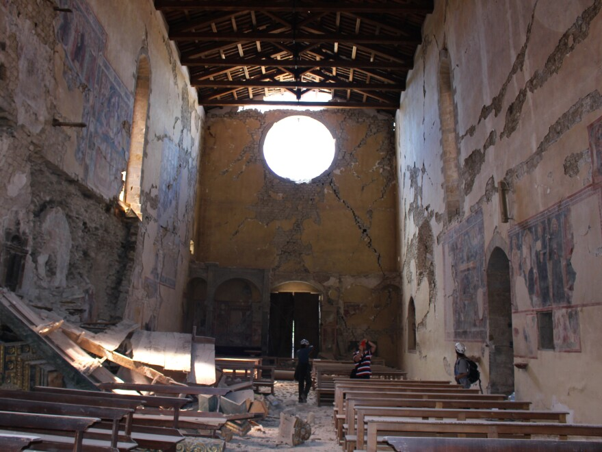 Amatrice's Basilica di San Francesco was among many centuries-old buildings damaged in Italy's Aug. 24 quake. The national police's art squad is documenting damage and salvaging priceless works of art from this and other churches in the region.