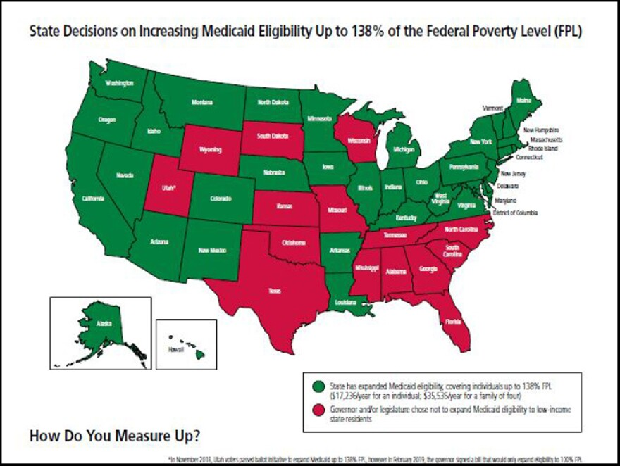 The state received some of its lowest marks for not expanding access to Medicaid.