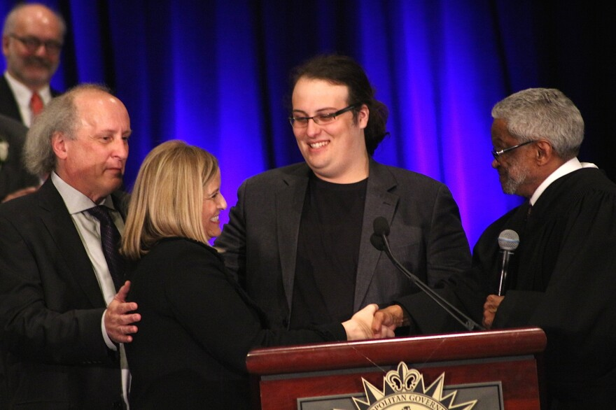 """Mayor Megan Barry shakes hands with Judge Richard Dinkins at her inauguration in 2015. Her son, Max Barry (center), died last month of a drug overdose, his parents said. Mayor Barry intends to use her platform to """"inspire and encourage other parents out there."""""""