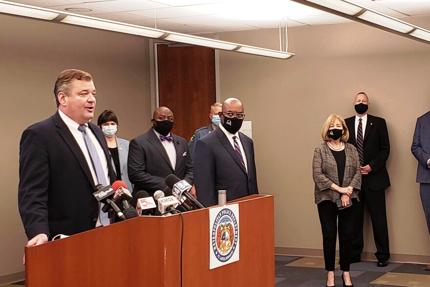 With Mayor Lyda Krewson and Public Safety Director Jimmie Edwards looking on, U.S. Attorney Jeff Jensen announces the expansion of Operation LeGend into St. Louis on August 6, 2020.