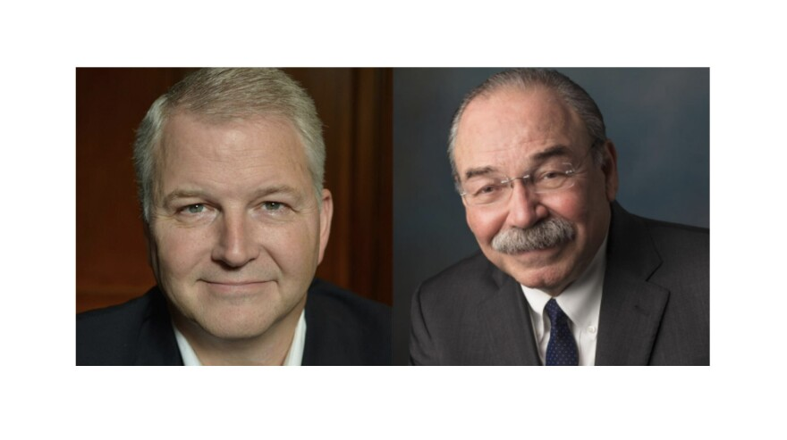 GOP Party Chair James Dickey (left) and Democratic Party Chair Gilberto Hinojosa (right).