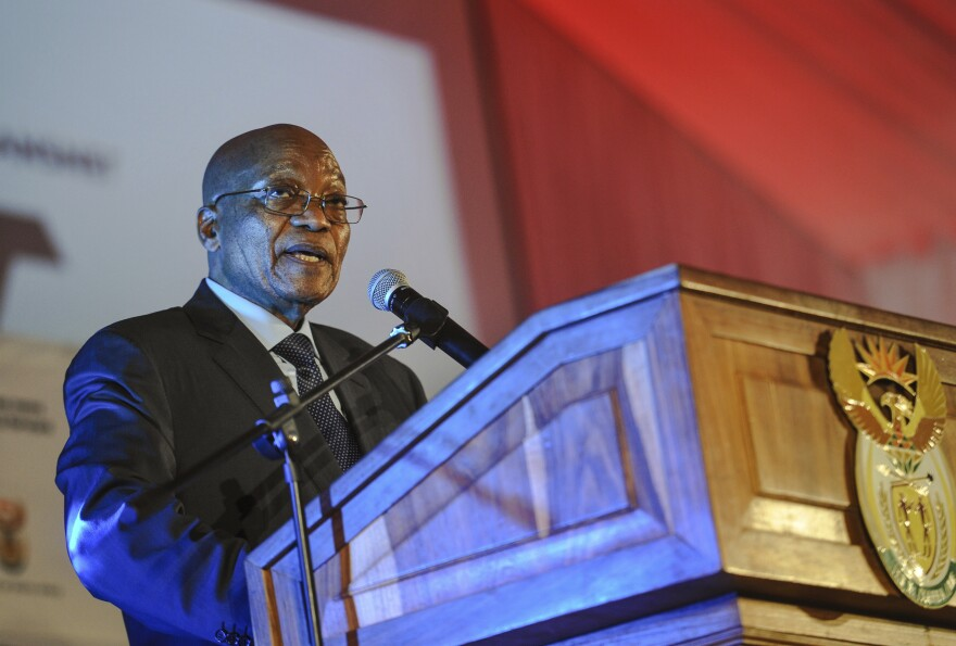 South African President Jacob Zuma speaks at an event Tuesday near Pretoria, South Africa.