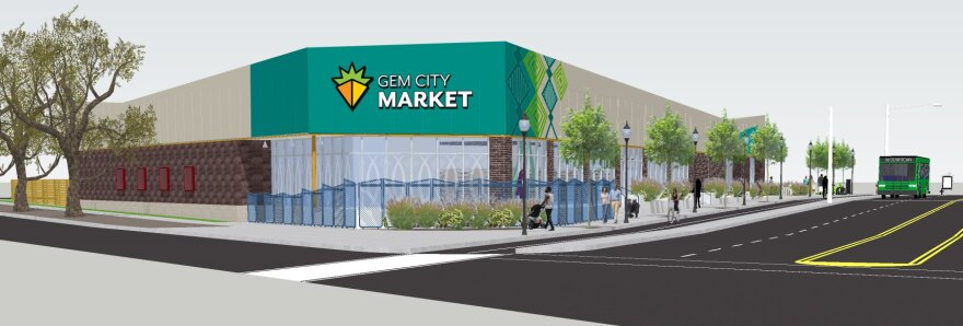 A rendering of the Gem City Market, a building on a corner with a green painted front, trees, people walking, and a bus coming down the road.