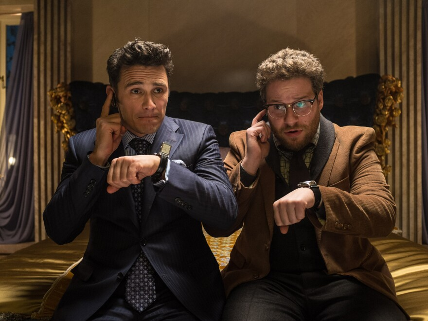 James Franco, left, as Dave, and Seth Rogen as Aaron, in a scene from Columbia Pictures' <em>The Interview</em>. The movie imagines a plot to kill Kim Jong-un, and has angered the North Korean government. It's believed to have led to a cyberattack on Sony Pictures.