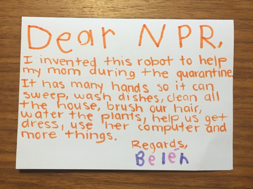 Belén (in her mom's handwriting, it seems) explained that her robot was to help her mom out with multitasking.