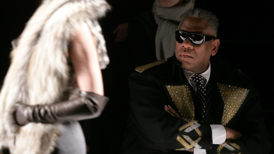 """André Leon Talley remembers paging through <em>Vogue</em> for the first time as a child — it was like falling down a """"rabbit hole"""" into """"a world of glamour,"""" he says. Talley is the subject of a new documentary called <em>The Gospel According to André. </em>He is shown above at the Carolina Herrera Fall 2007 fashion show."""