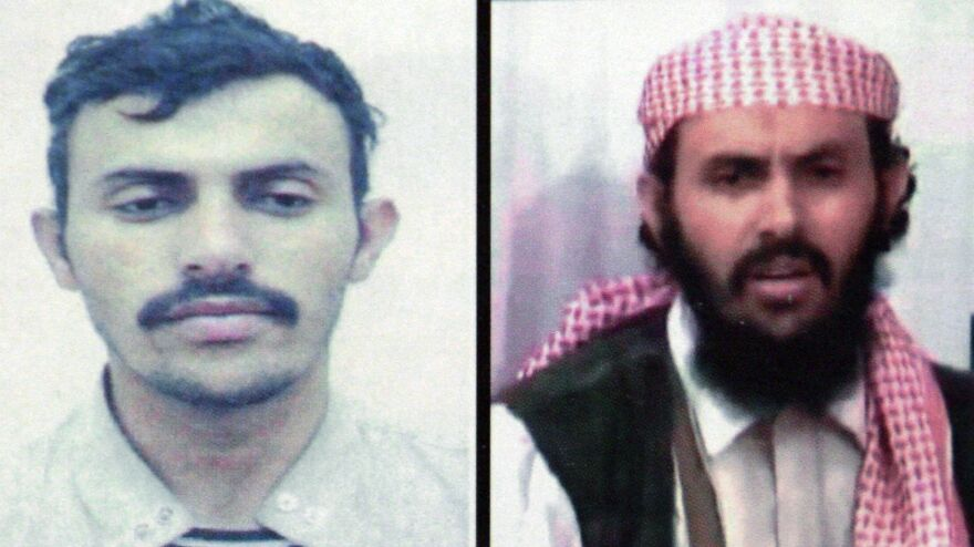 A reproduction of a combo of two pictures of Qassim al-Rimi, leader of al-Qaida in the Arabian Peninsula, who was killed in a U.S. counterterrorism operation.