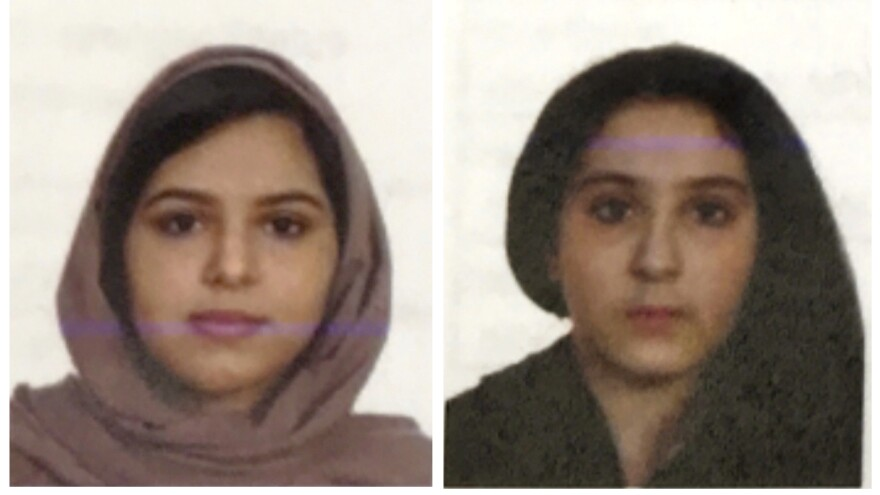 Sisters Rotana (left) and Tala Farea, whose bodies, bound together with tape and facing each other, were discovered on the banks of New York City's Hudson River waterfront on Oct. 24. They were Saudi citizens.