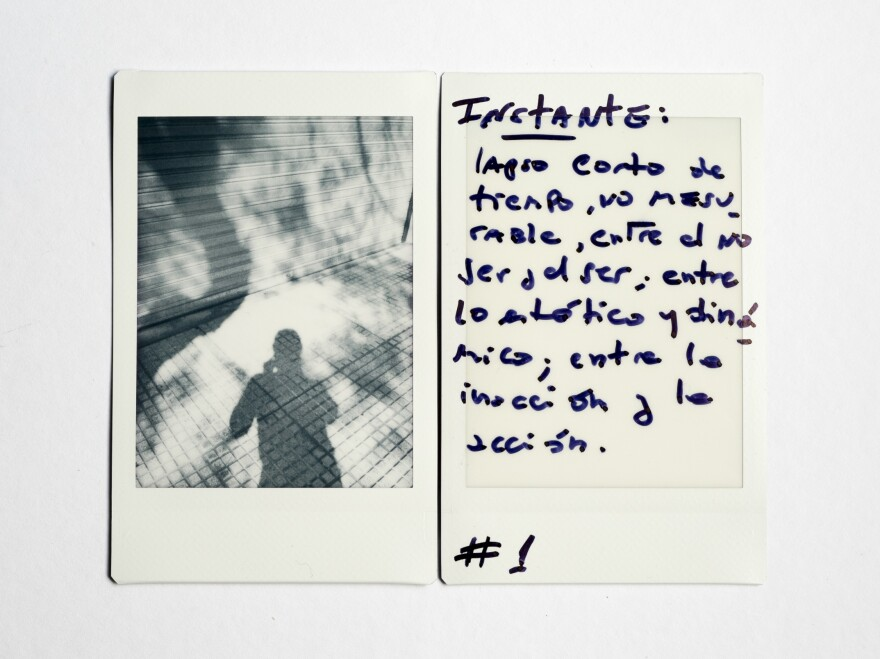 """(Left) Alonso's shadow during a walk around the block. (Right) Handwritten by Alonso: """"Instant: short period of time not measurable, between not being and being; between static and dynamic; between inaction and action."""""""