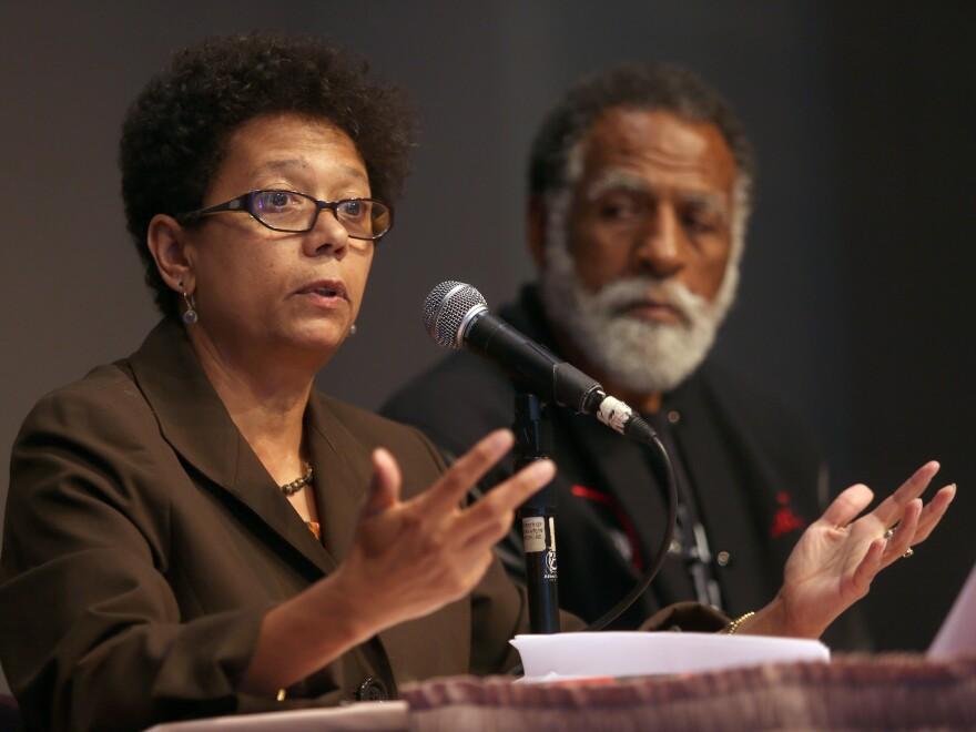 Dori J. Maynard, of the Robert C. Maynard Institute for Journalism Education, speaks during a forum at Preservation Park's Nile Hall in Oakland, Calif., in 2013.
