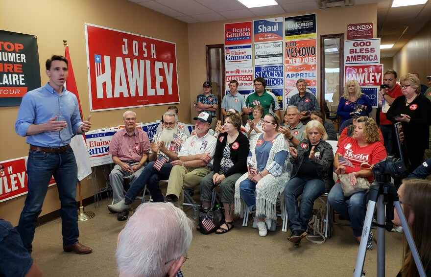 Missouri Attorney General Josh Hawley appeals to supporters Monday at a rally in Imperial, Mo., to promote his bid for the U.S. Senate.